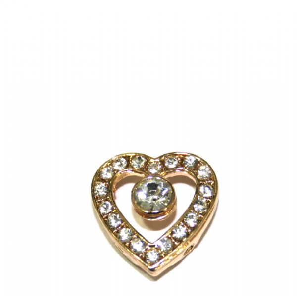 10 x 18*2mm champagne gold plated heart spacer with rhinestone 2 holes - S.F05 - WC0241 - 3000026